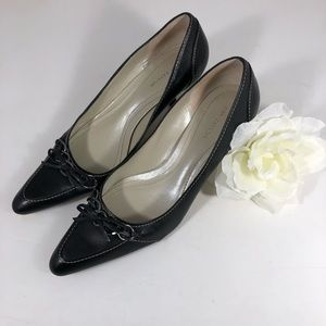 Ann Taylor Black Leather Heels, size 8.5M